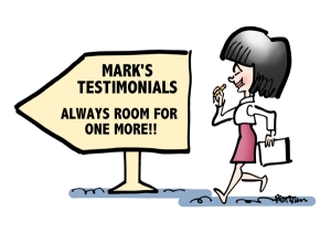 woman with paper pencil walking past sign Mark Armstrong Illustration testimonials always room for one more