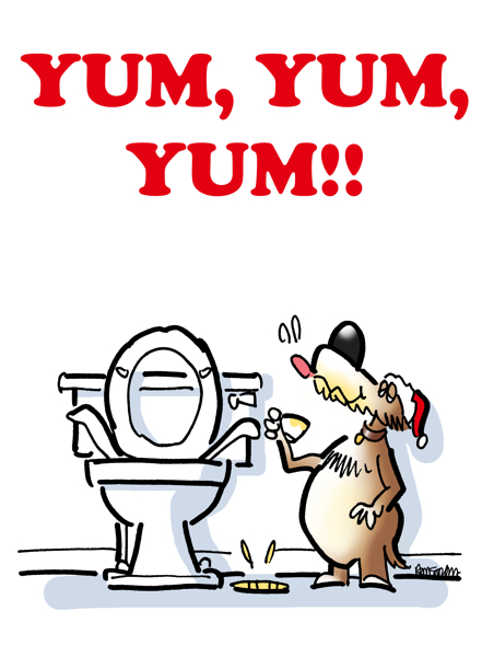 Christmas card design dog drinking from toilet ladles cup yum yum eggnog is good this year isn't it