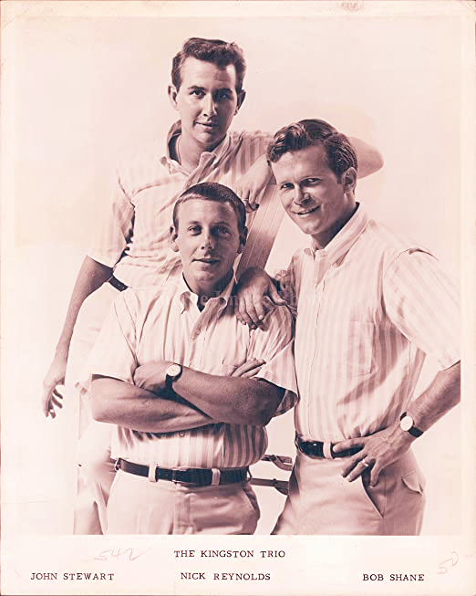 Kingston Trio folk group circa early 1960's with members John Stewart Nick Reynolds Bob Shane