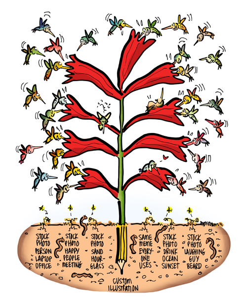Plant with long tubular red flowers with hummingbirds swarming all around worms underground custom illustration attracts more attention than stock photos