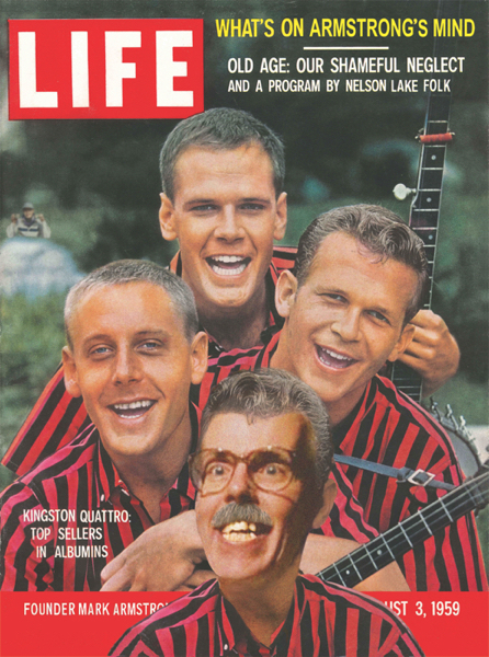 Parody of Life Magazine cover with Kingston Trio illustrator Mark Armstrong added as member of group name changed to Kingston Quattro