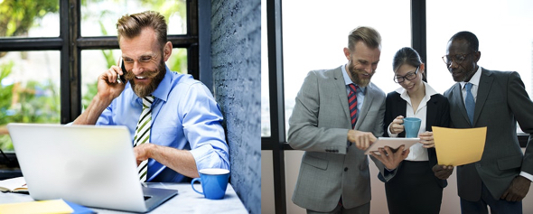 stock photos happy grinning guy with blond beard with cell phone at computer same guy with two young execs woman black guy looking at iPad