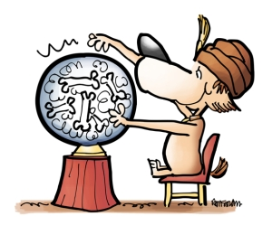 Dog as fortune teller wearing turban and sitting at crystal ball images of bones swirling inside as he attempts to predict the future