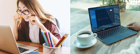 stock photos young woman at laptop biting pencil shot of open laptop desk cup coffee