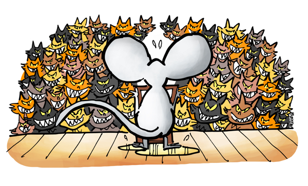 Mouse on stage at podium giving speech to roomful of hungry cats, mouse standing in urine puddle