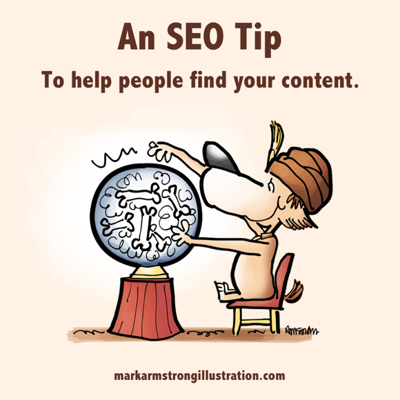 SEO tip to help people find your content dog sitting at crystal ball with vision of bones
