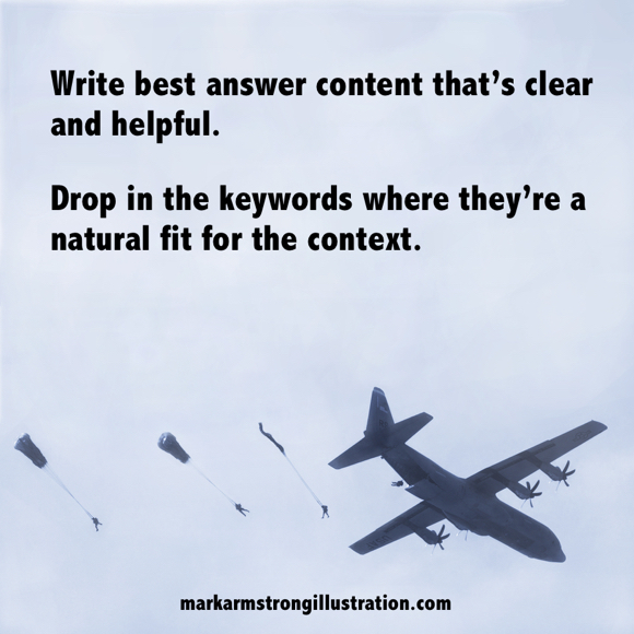 SEO tip write best answer content drop in keywords where natural fit for context guys parachuting out of plane