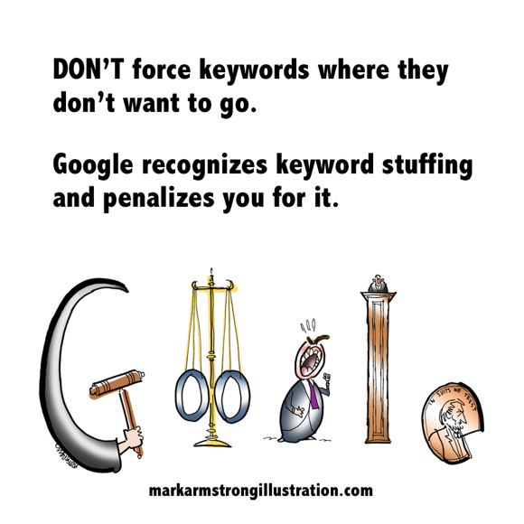 Google recognizes keyword stuffing and penalizes you for it Google doodle with law court motif