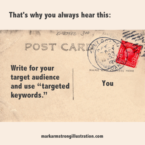 SEO advice write for target audience using targeted keywords old postcard