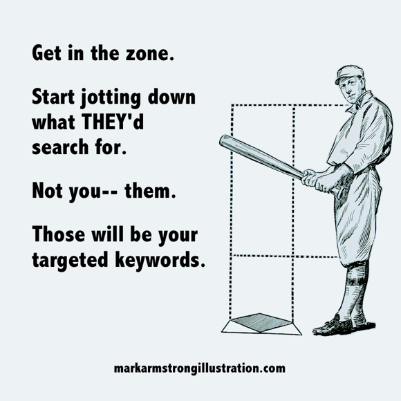 SEO tip get in zone think like your ideal prospects to get targeted keywords baseball player at strike zone