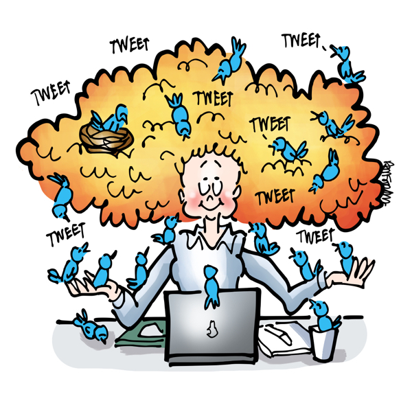 Young woman with big hair sitting in front of laptop computer surrounded with little blue birds tweeting some in her hair nest
