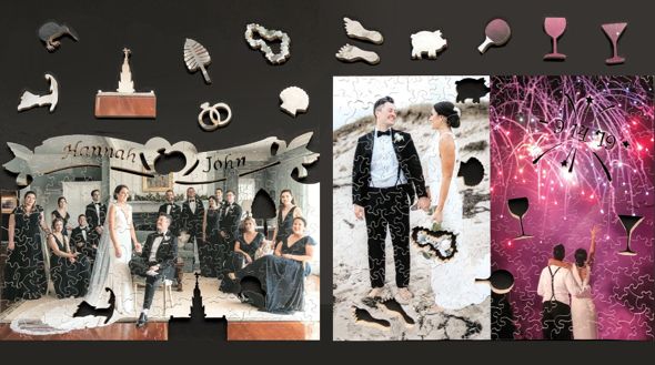 Fool's Gold wedding wooden jigsaw puzzles with custom theme pieces