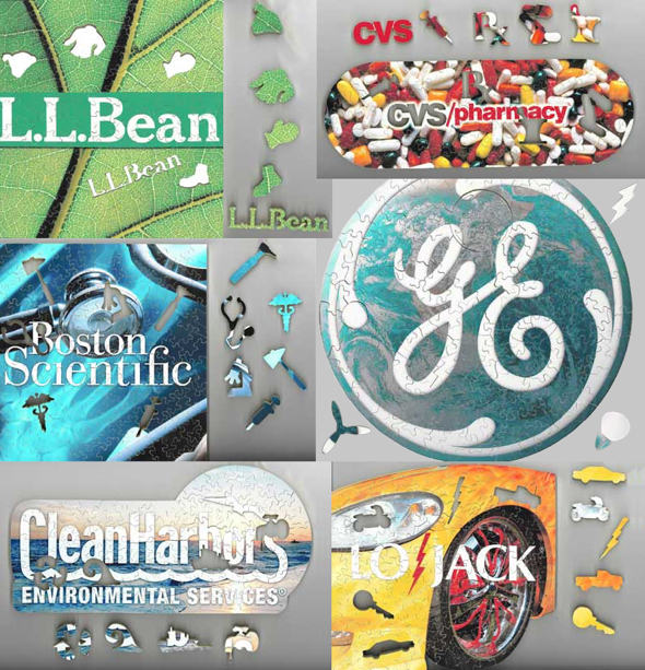 Fool's Gold custom wooden jigsaw puzzles for corporate clients L.L. Bean, CVS, GE, and others