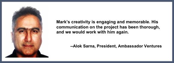 Recommendation for Mark Armstrong Illustration from Alok Sarna, President, Ambassador Ventures, for work on Aviva Power Stations marketing PDF animation