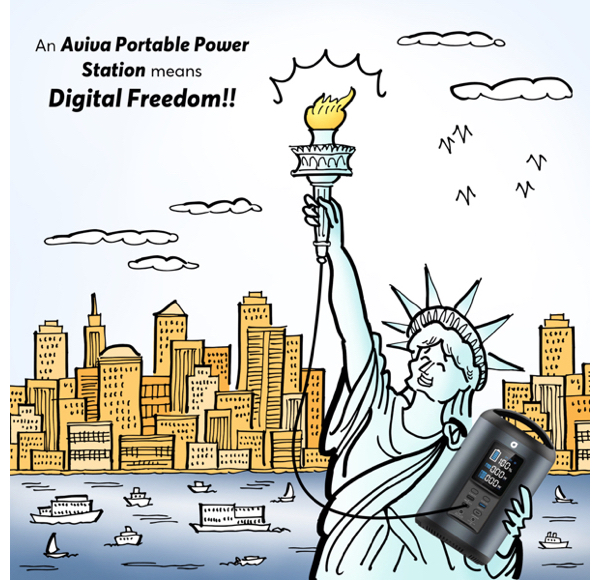 Statue of Liberty using Aviva portable power station to recharge torch New York harbor in background